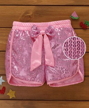 Murphy Mouse Sequined Shorts - Baby Pink