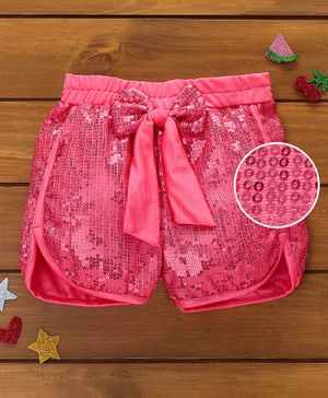 Murphy Mouse Sequined Shorts - Hot Pink