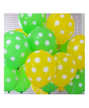 Balloon Junction Balloons Polka Dots Pack of 30 - Green & Yellow