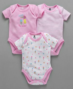 I Bears Half Sleeves Onesies Stripe & Ice-Cream Print Pack of 3 - Pink