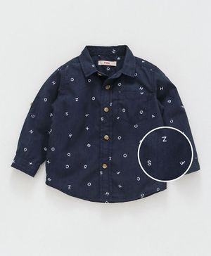 Fox Baby Full Sleeves Shirt Alphabet Print - Navy Blue