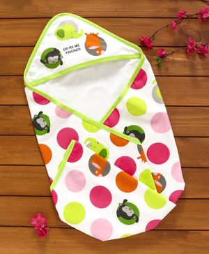 Doreme Hooded Terry Towel Animal & Polka Dot Print - White Multicolour