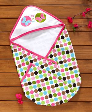 Doreme Hooded Terry Towel Butterfly & Polka Dot Print - White Multicolour