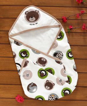 Doreme Hooded Terry Towel Bear & Monkey Print - Off White