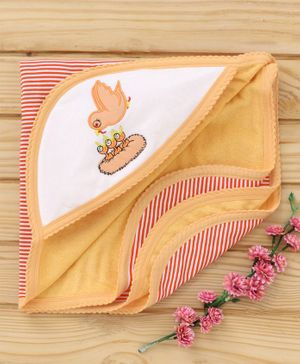 Tinycare Hooded Bath Towel Bird Embroidery - Orange