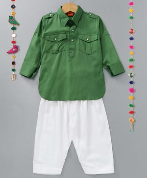 Ethnik's Neu-Ron Full Sleeves Kurta Pyjama - Dark Green White