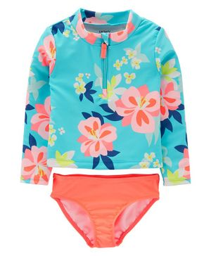 Carter's Carter's Floral 2-Piece Rashguard Set - Blue Orange