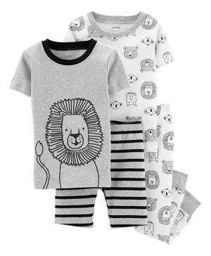 Carter's 4-Piece Lion Snug Fit Cotton PJs - Grey