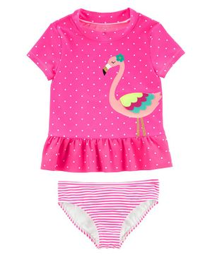 Carter's 2-Piece Flamingo Rashguard Set - Fuchsia