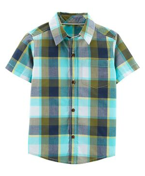 Carter's Plaid Poplin Button-Front Shirt - Green White