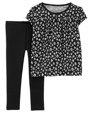 Carter's Short Sleeves Printed Top And Lounge Pant  - Black