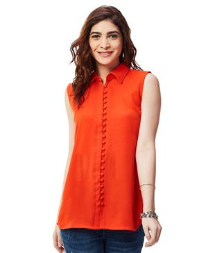 Nuthatch Maternity Loop Button Top - Orange