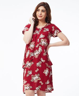 Nuthatch Printed Nursing Layered Dress - Red