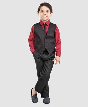 Robo Fry Three Piece Party Suit With Tie - Maroon
