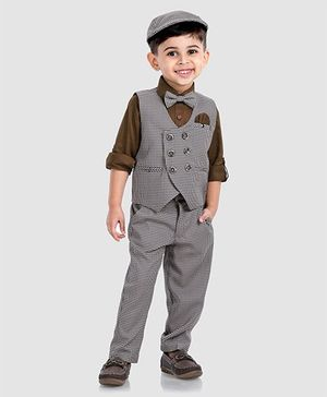 Robo Fry Full Sleeves Shirt With Trouser Waistcoat & Bow - Grey