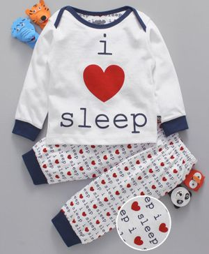 Mini Taurus Full Sleeves Night Suit Sleep Print - Navy White