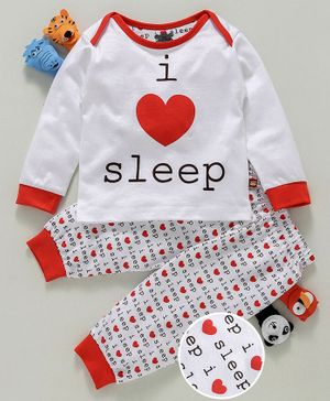 Mini Taurus Full Sleeves Night Suit Sleep Print - White Red