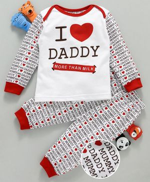 Mini Taurus Full Sleeves Night Suit I Love Daddy Print - Red