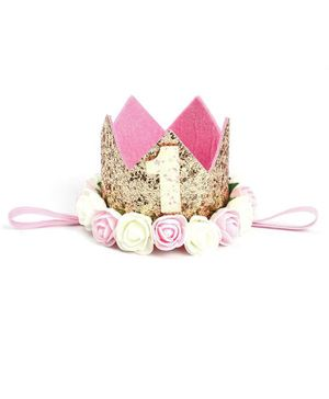 Ziory Birthday Glitter Crown Hat With Rose Flower - Golden