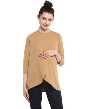 Momsoon Front Overlapping Maternity Cum Nursing Top - Beige