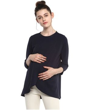 Momsoon Front Overlapping Maternity Cum Nursing Top - Burgandy