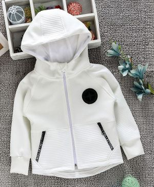 Little Kangaroos Solid Colour Hooded Sweatshirt - Off White