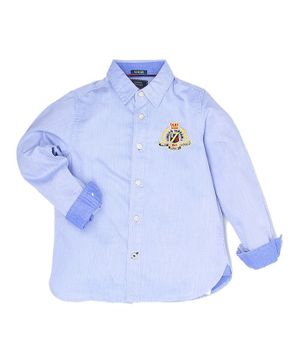 Indian Terrain Full Sleeves Solid Shirt - Blue