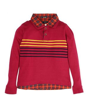 Indian Terrain Full Sleeves Tee Stripe Pattern - Red
