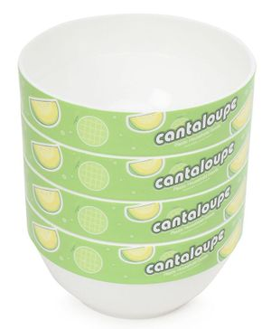 Cantaloupe Print Baby Bowl Green - Pack of 4