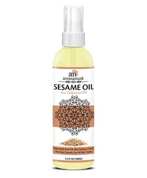 AromaMusk Organic Pure Cold Pressed Extra Virgin Sesame Oil - 100 ml