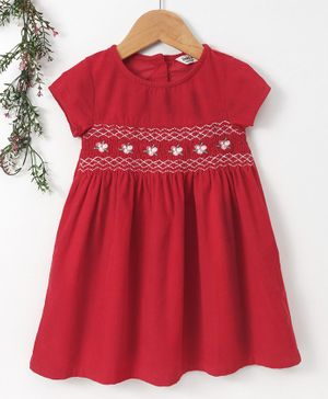 Beebay Short Sleeves Frock Floral Embroidery - Red