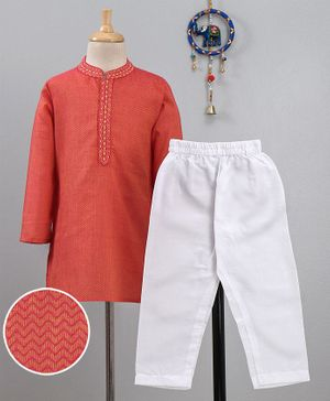 Babyhug Full Sleeves Kurta Pyjama Set Chevron Pattern & Embroidered Placket - Coral