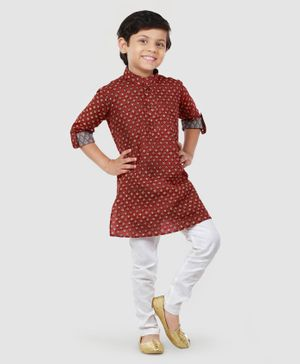 Exclusive From Jaipur Full Sleeves Printed Kurta And Pyjama - Sky Blue White
