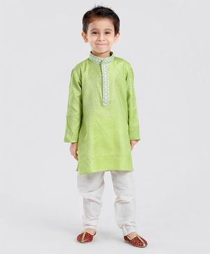 Exclusive from Jaipur Full Sleeves Kurta With Pajama Jari Work - Green