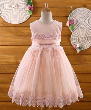 Amigo 7 Seven Lace Work Sleeveless Dress - Peach