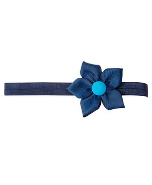 Keira's Pretties Elegant Headband With Flower Applique - Navy Blue