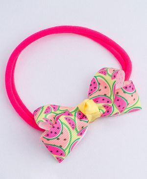 Ribbon Candy Melons Print Stretchy Rubber Band - Pink & Yellow