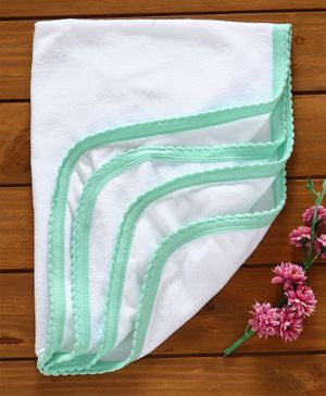 Tinycare Plain Terry Baby Bath Towel - White & Light Green
