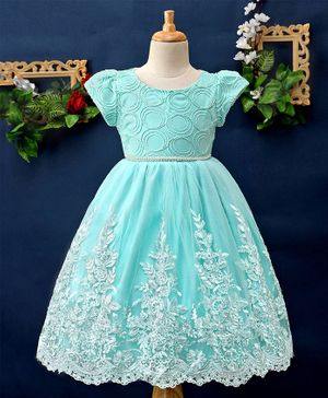 Mark & Mia Flower Embroidery Work Cap Sleeves Dress - Aqua
