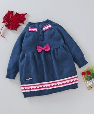 Birth Baby Tiny Bow Applique Full Sleeves Dress - Blue
