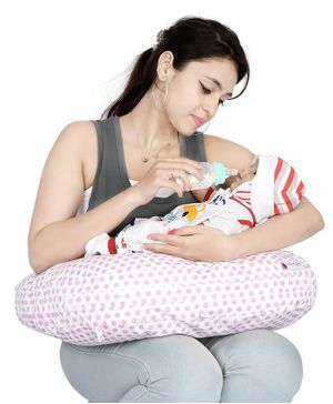 Lulamom Allergen Protected Nursing Pillow & Cover Polka Dots Print - Pink