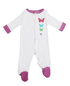 Morisons Baby Dreams Full Sleeves Footed Romper Butterfly Print - Purple White