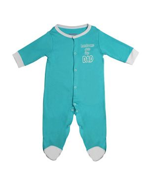Morisons Baby Dreams Full Sleeves Footed Romper Handsome Print - Aqua Blue