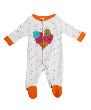 Morisons Baby Dreams Full Sleeves Footed Romper Ice Cream Print - Orange White