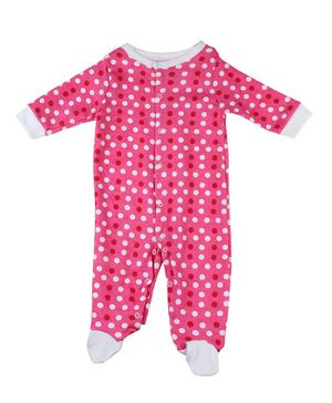 Morisons Baby Dreams Full Sleeves Footed Romper Polka Dot Print - Pink