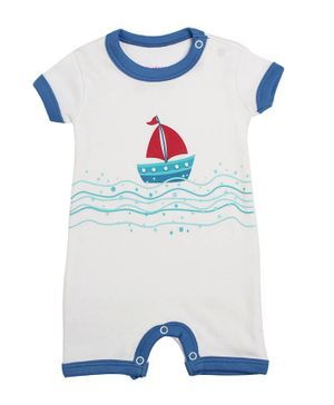 Morisons Baby Dreams Short Sleeves Romper Ship Print - Blue White