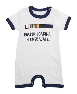 Morisons Baby Dreams Short Sleeves Romper Text Print - Navy White