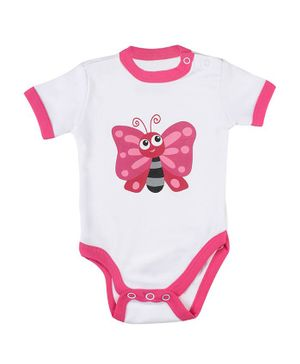 Morisons Baby Dreams Short Sleeves Onesie Butterfly Print - Pink White