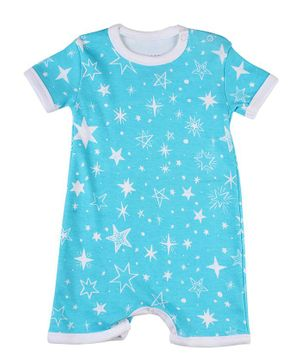 Morisons Baby Dreams Short Sleeves Romper Star Print - Aqua Blue