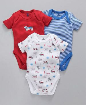 I Bears Half Sleeves Onesies Pack of 3 - Red Blue White